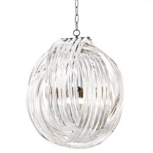 Chandelier - 4 Light - Round Design Acrylic Rod & Chrome Chandelier