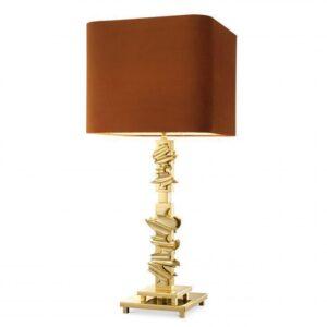 Table Lamp - Sculptured Gold Base - Burnt Orange Square Velvet Shade