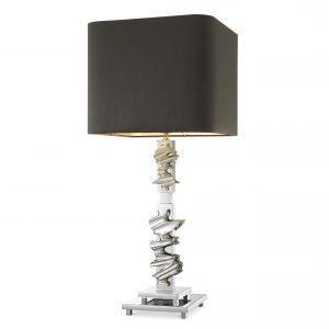 Table Lamp - Sculptured Chrome Base - Grey Square Velvet Shade