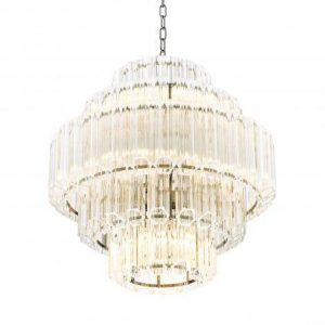 Chandelier - 9 Light - 5 Tiered Cut Clear Crystal Large Chandelier - Chrome Surround