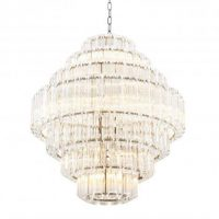 Chandelier - 18 Light - 7 Tiered Cut Clear Crystal Large Chandelier - Chrome Surround