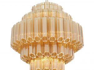 Chandelier - 9 Light - 5 Tiered Cut Amber Crystal Chandelier - Chrome Surround