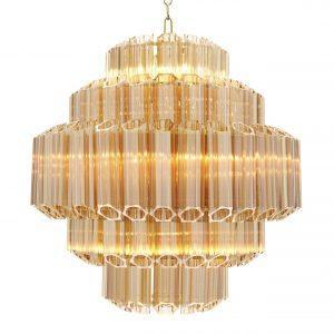 Chandelier - 9 Light - 5 Tiered Cut Amber Crystal Chandelier - Chrome Surround