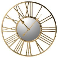 Wall Clock - Round Polished Brass Skeleton Clock - Mirrored Face - Medium
