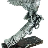 Falcon Statue - Marble Base - Heavy Carved Silver Falcon On Arm - Large