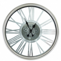 Wall Clock - Round Skeleton Design Moving Cogs Wall Clock - Silver Finish