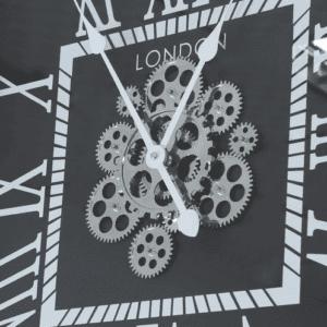 Wall Clock - Square Moving Gears London Wall Clock - Black Finish