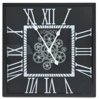 Wall Clock - Square Moving Gears London Wall Clock - Black Finish