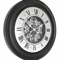 Wall Clock - Round Champs Elysee Moving Cogs Wall Clock - Black Finish
