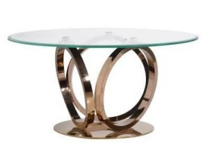 Dining Table - Round Glass Top & Rose Gold Base Dining Table