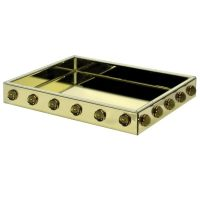 Serving Tray - Oblong- Citrine Mirrored & Cabochons Serving Tray