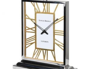 Mantel Clock - 'Tower Bridge Clock Co' Chrome & Brass - Skeleton Design