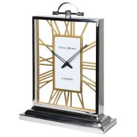 Mantel Clock - 'London Bridge Clock Co' Chrome & Brass - Skeleton Design
