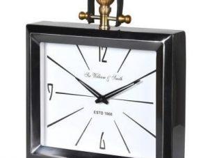 Mantel Clock - 'Sir William & Smith Clock Co' Black Chrome & Brass
