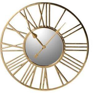Wall Clock - Polished Brass Skeleton Clock - Mirrored Face - Medium