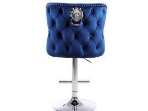 Bar Stool - Lion Knocker - Chrome - Deep Buttoned - Midnight Blue Velvet