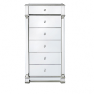 Tallboy Chest Of Drawers - Silver Edged - Mirrored Finish - 6 Drawer