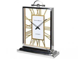 Mantel Clock - 'Tower Bridge Clock Co' - Chrome & Brass - Skeleton Design
