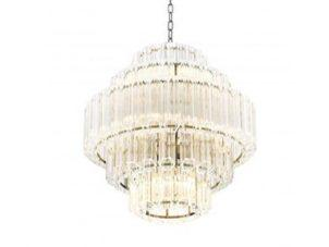 Chandelier - 9 Light - 5 Tiered Cut Clear Crystal - Chrome - Small
