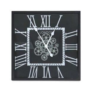 Wall Clock - Moving Gears - London Clock Co- Black Finish