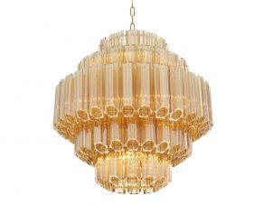 Chandelier - 9 Light - 5 Tiered Cut Amber Crystal - Chrome Surround