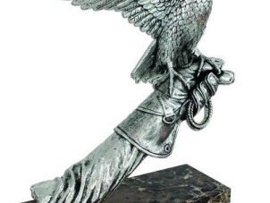 Falcon Statue - Marble Base - Heavy Carved Silver Falcon On Arm
