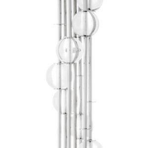 Floor Lamp - Polished Chrome & Glass Ball Standard Lamp - White Shade