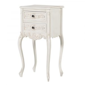 Bedside Cabinet - Carved Design -2 Drawer - French Antique White