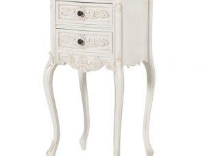 Bedside Cabinet - Carved Design -2 Drawer - French Antique White