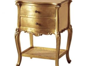 Bedside Cabinet - 2 Drawer - Rattan Shelf - Antique Gilt Range
