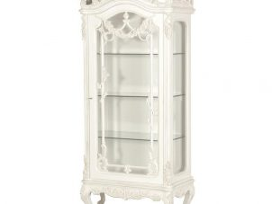 Cabinet - Heavily Carved - Glass Door - Glass Shelves - French Antique White