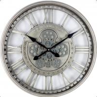 Wall Clock - Round Kensington Moving Cogs Skeleton Wall Clock - Silver Finish