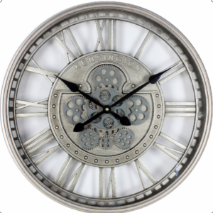 Wall Clock Kensington - Moving Cogs - Skeleton Design - Silver Finish