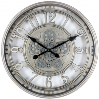 Wall Clock - Round Moving Cogs Skeleton Wall Clock - Silver Finish