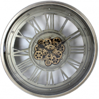 Wall Clock - Round Skeleton Gold Moving Cogs Wall Clock - Silver Finish