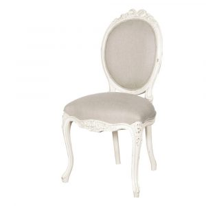 Dining Chair - Ornate Carved Linen Upholstered - French Antique White