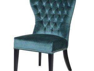 Dining Chair - Deep Buttoned - Black Legs - Soft Teal Velvet