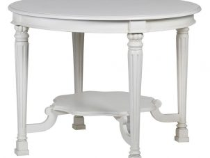 Centre Table - Carved Design Round Display Table - French Antique White