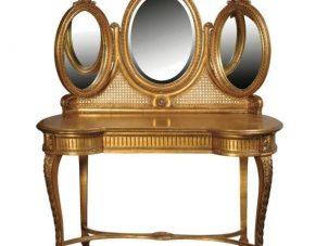 Dressing Table - 2 Drawer - Triple Mirrored - Antique Gilt Range