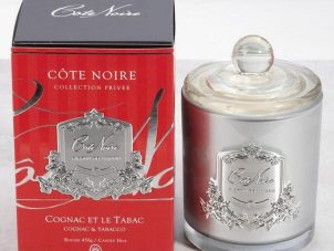 'Cognac & Tobacco' Scented Candle - Cote Noire Glass Design -100 Hours