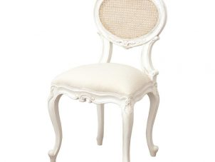 Bedroom Chair - Carved Design - Upholstered - French Antique White