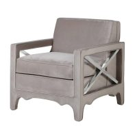 Easy Chair - Chrome X Design Sides - Taupe Fabric Finish