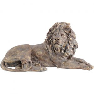 Lion Sculpture - Laying Down Gold Colored Lion - Resin
