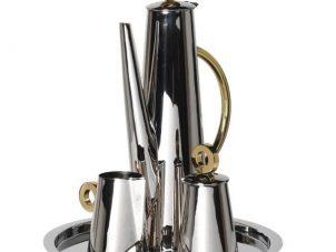 Coffee Set - Chrome & Gold Ring Design - Coffee Pot - Sugar Bowl - Milk Jug Set