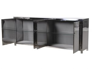 Sideboard - 4 Door - 2 Glass Shelves - Highly Polished Chrome Finish