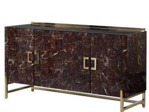 Sideboard - 4 Door - Marble Effect Finish - Brass Trim Sideboard