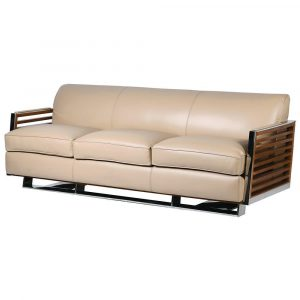 3 Seater Sofa - Ivory High Grade Leather - Wood & Chrome Contemporary Finish