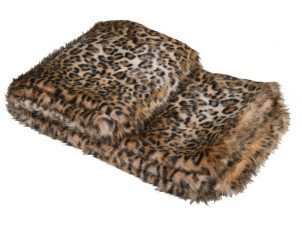 Fur Throw - Leopard Print Luxury Faux Fur Throw - Large