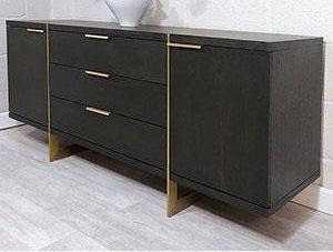 Sideboard - 2 Door 3 Drawer - Brushed Elm Wood & Gold Finish