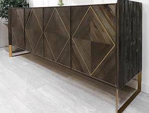 Sideboard - 4 Door - Brushed Elm and Copper Finished Sideboard